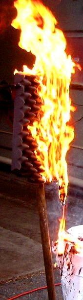 Burning eggcrate foam