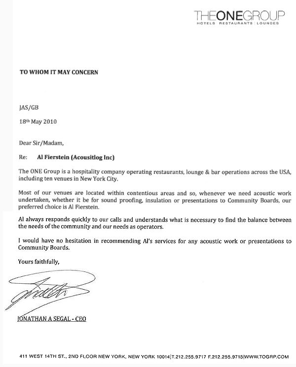 Acoustilog, Incorporated: Testimonial Letters
